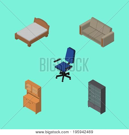 Isometric Furnishing Set Of Couch, Sideboard, Office And Other Vector Objects
