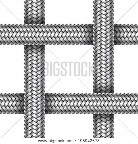 Vector seamless pattern of intersected braided metal cable