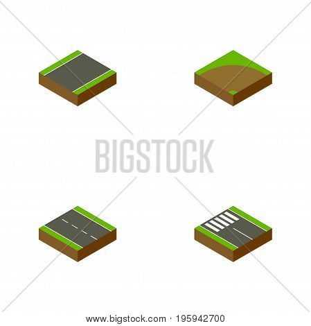 Isometric Road Set Of Sand, Strip, Single-Lane Vector Objects