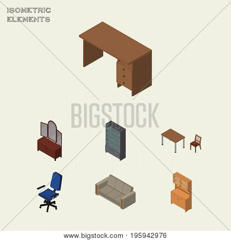 Isometric Furnishing Set Of Office, Couch, Chair And Other Vector Objects