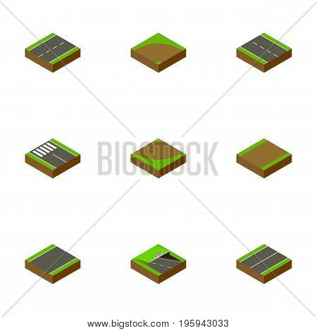 Isometric Road Set Of Underground, Footpath, Sand Vector Objects