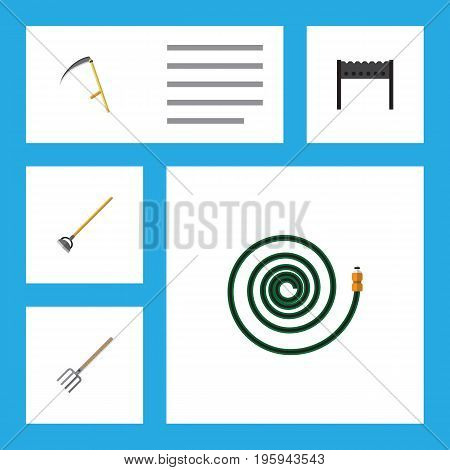 Flat Icon Garden Set Of Hosepipe, Tool, Barbecue And Other Vector Objects