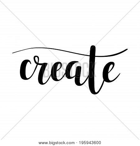 Vector hand-drawn lettering create abstract calligraphy design