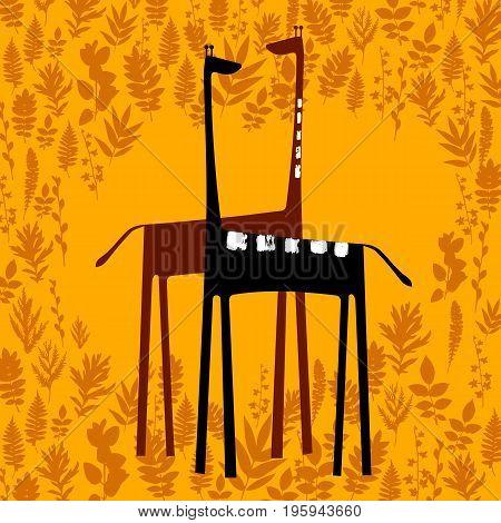 giraffe vector animal wild african tall nature safari necked