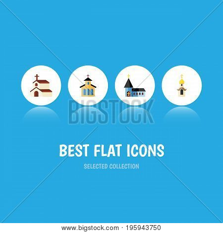 Flat Icon Christian Set Of Catholic, Christian, Religion And Other Vector Objects