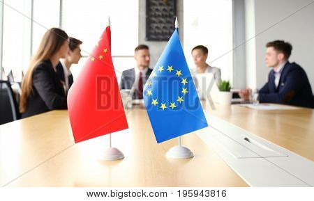 Diversity people talk the international conference partnership. Chinese flag and European union flag