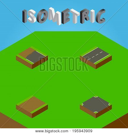 Isometric Way Set Of Footpath, Driveway, Crossroad And Other Vector Objects