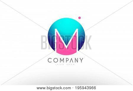 M Alphabet 3D Sphere Letter Blue Pink Logo Icon Design
