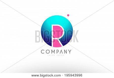 R Alphabet 3D Sphere Letter Blue Pink Logo Icon Design