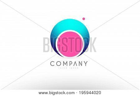 O Alphabet 3D Sphere Letter Blue Pink Logo Icon Design