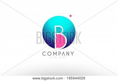 B Alphabet 3D Sphere Letter Blue Pink Logo Icon Design