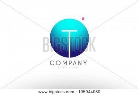 T Alphabet 3D Sphere Letter Blue Pink Logo Icon Design