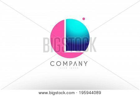 L Alphabet 3D Sphere Letter Blue Pink Logo Icon Design