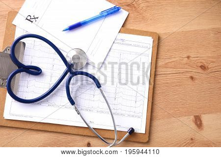 Blood pressure meter and stethoscope, isolated on white.