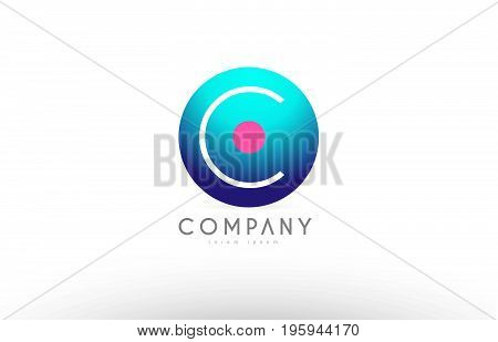 C Alphabet 3D Sphere Letter Blue Pink Logo Icon Design