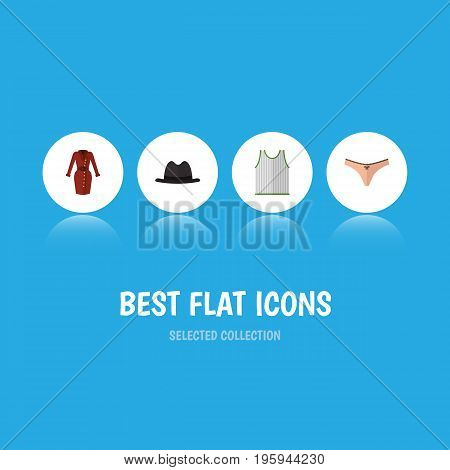 Flat Icon Dress Set Of Lingerie, Clothes, Singlet And Other Vector Objects