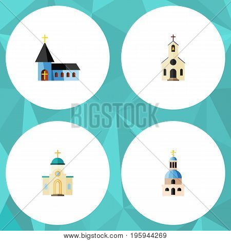 Flat Icon Christian Set Of Religious, Church, Building And Other Vector Objects