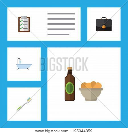 Flat Icon Oneday Set Of Beer With Chips, Questionnaire, Dental And Other Vector Objects