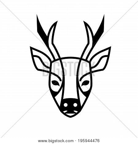 Roe deer watching us stylized image can be used as a logo or brand images vector black and white