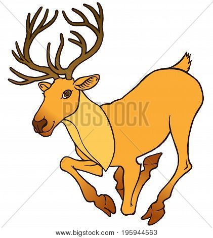 Cartoon deer with large antlers jumping and running - vector illustration
