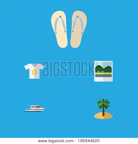 Flat Icon Beach Set Of Boat, Reminders, Coconut And Other Vector Objects