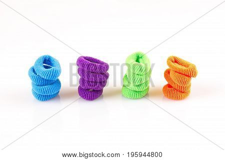 Hair elastic bands isolated on the white background