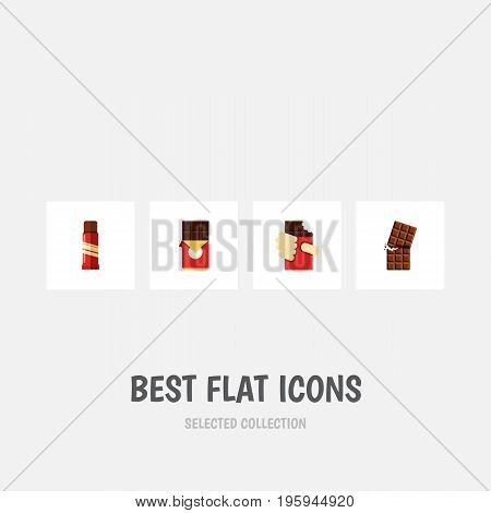 Flat Icon Chocolate Set Of Shaped Box, Sweet, Wrapper And Other Vector Objects