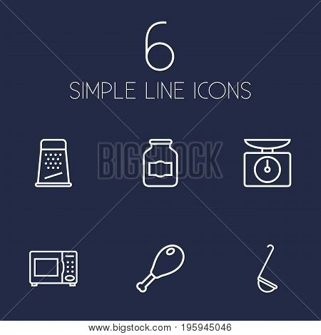 Set Of 6 Culinary Outline Icons Set