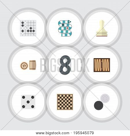 Flat Icon Play Set Of Chequer, Pawn, Chess Table And Other Vector Objects