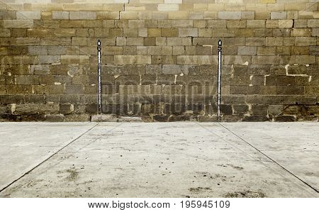 Old wall of a fronton in spain traditional hand ball sport