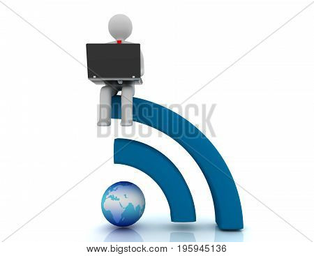 3D People - Human Character , Person With Laptop And Rss Symbol . 3D Rendered Illustration
