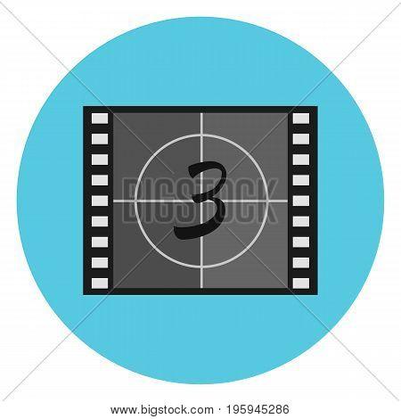 Flat vector film countdown symbol on video tape film leader head leader. Cinematography movie production illustration