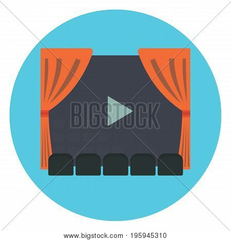 Cinema room with row of gray sits in front of movie screen with play symbol and red act curtains. Flat vector cinematography symbol