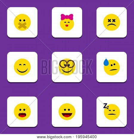Flat Icon Face Set Of Wonder, Hush, Pleasant And Other Vector Objects