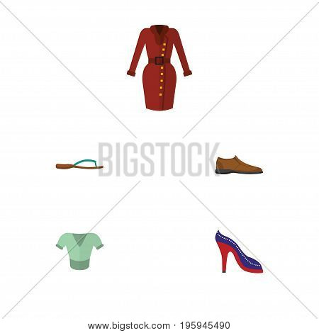 Flat Icon Clothes Set Of Male Footware, Heeled Shoe, Clothes And Other Vector Objects