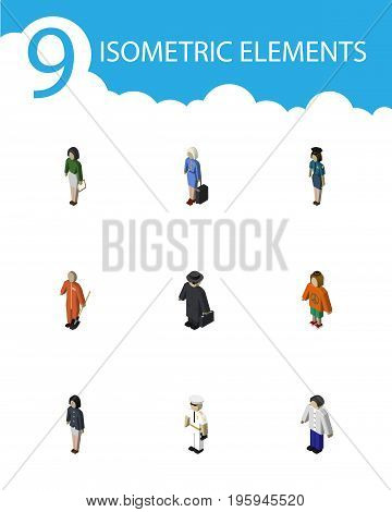 Isometric Person Set Of Cleaner, Seaman, Girl And Other Vector Objects