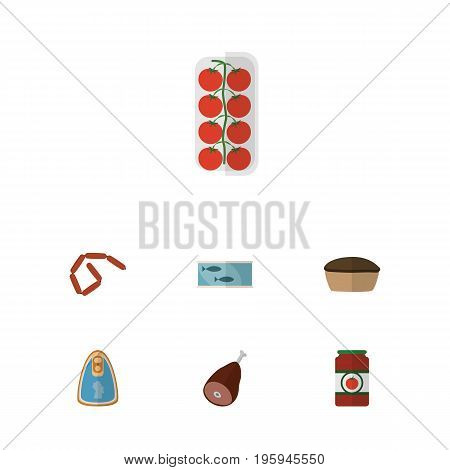 Flat Icon Meal Set Of Canned Chicken, Bratwurst, Tart And Other Vector Objects