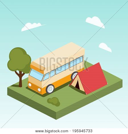 Camping motor home isometric style colorful vector illustration