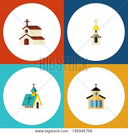 Flat Icon Church Set Of Religion, Structure, Catholic And Other Vector Objects