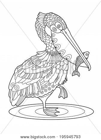 Pelican bird with fish coloring book vector illustration. Black and white lines. Lace pattern
