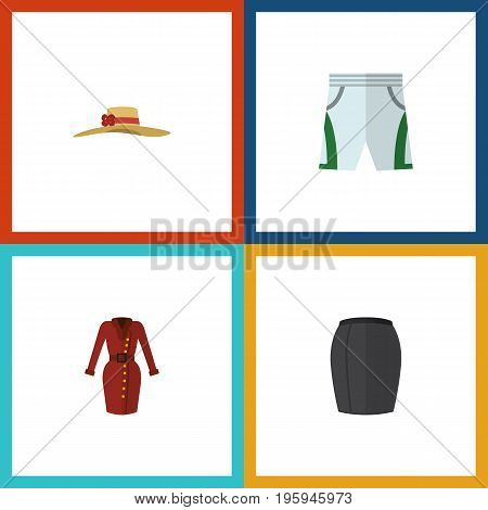 Flat Icon Garment Set Of Clothes, Trunks Cloth, Stylish Apparel And Other Vector Objects