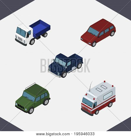 Isometric Car Set Of Lorry, Armored, First-Aid And Other Vector Objects