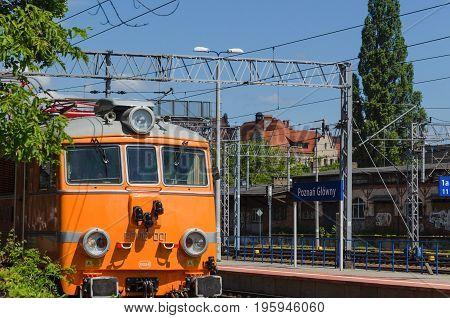 POZNAN, GREATER POLAND / POLAND: Electric train on a railway siding