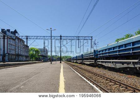 KOLOBRZEG, WEST POMERANIAN / POLAND - 2017: Freight wagons at the train station