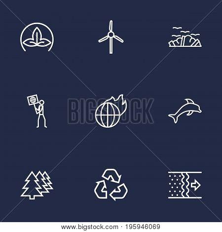 Set Of 9 Bio Outline Icons Set