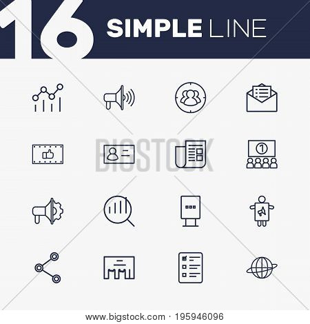 Set Of 16 Advertising Outline Icons Set