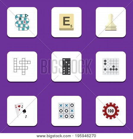 Flat Icon Entertainment Set Of Bones Game, Mahjong, Gomoku And Other Vector Objects