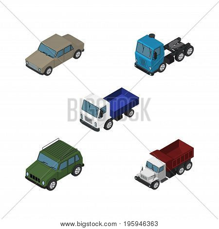 Isometric Transport Set Of Lorry, Freight, Truck And Other Vector Objects
