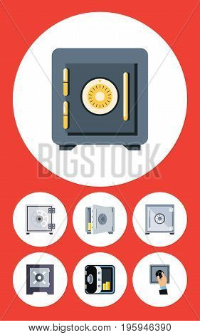 Flat Icon Closed Set Of Banking, Protection, Strongbox And Other Vector Objects