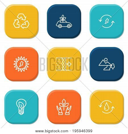 Set Of 9 Ecology Outline Icons Set